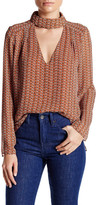 Lucy Paris V-Neck Printed Long Sleeve Blouse