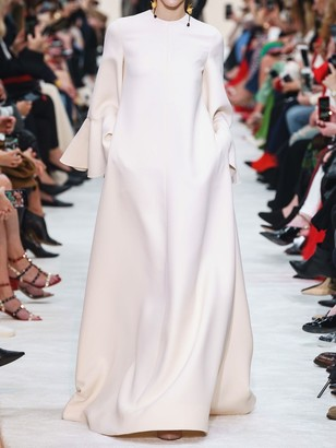 Valentino Long Couture Ruffled Sleeves Crepe Dress