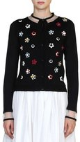 Fendi Floral-Stud Illusion Cardigan, Black/Multi