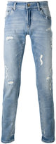 Dolce & Gabbana distressed jeans - men - Cotton/Calf Leather/Spandex/Elastane/zamac - 46