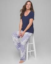 Cool Nights Short Sleeve Pajama Set Aura Floral W Navy RG