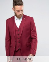 Farah Skinny Suit Jacket In Burgundy