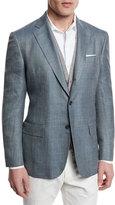 Loro Piana Plaid Wool/Silk Two-Button Sport Coat, Light Blue
