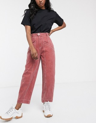 Mulberry Asos Design ASOS DESIGN Ovoid boyfriend jeans with seam pocket detail in washed