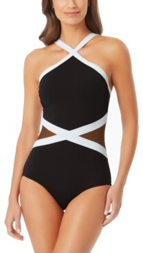 Anne Cole High-Neck Mesh-Trim One-Piece Swimsuit Women's Swimsuit