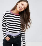 Asos Stripe Sweater with Glitter Cuff & Neck
