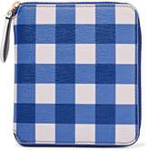 Diane von Furstenberg Medium Gingham Textured-leather Wallet - Blue
