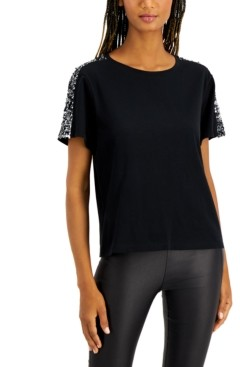 INC International Concepts Inc Sequin-Sleeve T-Shirt, Created for Macy's
