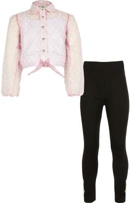 River Island Girls Pink spot organza shirt outfit