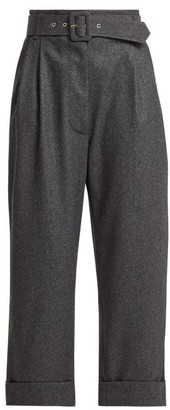 Isa Arfen Belted Cropped Wool Trousers - Womens - Dark Grey