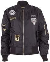 Noroze Girls Boys Kids MA1 Zip Up Biker Bomber Badges Jacket