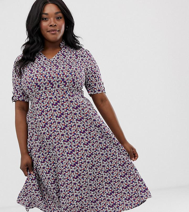 Yumi Plus floral midi dress