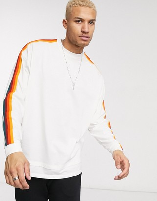 ASOS DESIGN organic oversized longline long sleeve t-shirt with contrast taping in white