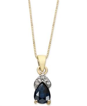 "Macy's Sapphire (7/8 ct. t.w.) & Diamond Accent 18"" Pendant Necklace in 14k Gold"