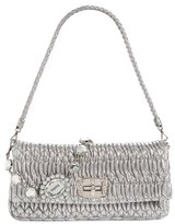 Miu Miu Medium Swarovski Crystal Chain Leather Shoulder Bag - Metallic
