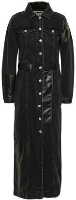 McQ Faux Leather-paneled Denim Coat