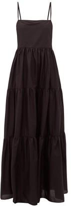 Matteau The Tiered Low Back Cotton-poplin Maxi Dress - Black