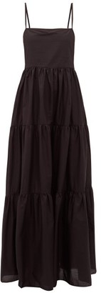 Matteau - The Tiered Low Back Cotton Poplin Maxi Dress - Womens - Black