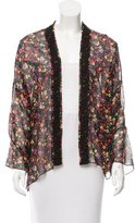Anna Sui Silk Floral Print Cardigan w/ Tags
