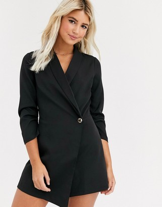 New Look button detail blazer evening playsuit in black