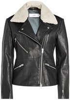 Closed Leather Biker Jacket with Faux Shearling