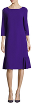 Oscar de la Renta 3/4 Sleeve Ruffle Hem Shift Dress