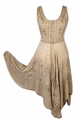 Doorwaytofashion Summer Dress Corset Boho Full Flare Asymmetric Hem (Petrol Blue)