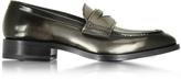 Jil Sander Mirror Black Leather Loafer Shoe