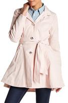 Betsey Johnson Tie Waist Fit & Flare Rain Coat