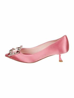 Roger Vivier Leather Crystal Embellishments Pumps Pink