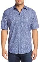 Bugatchi Men's Classic Fit Square Print Short Sleeve Sport Shirt