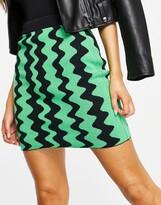 Thumbnail for your product : Monki Boya wavy mini knit skirt co-ord in multi