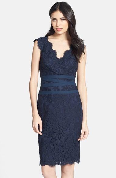 Tadashi Shoji Embroidered Lace Sheath Dress (Regular & Petite)