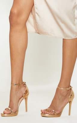 PrettyLittleThing Enna Rose Gold Single Strap Heeled Sandals