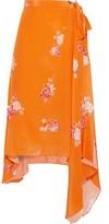 Preen Line Regina Asymmetric Floral-print Crepe De Chine Wrap Skirt