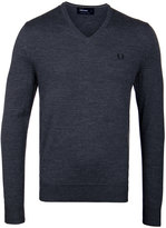 Fred Perry Graphite Marl Classic Tipped V Neck Sweater