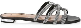 Aquazzura Moondust Crystal-Embellished Leather Flat Sandals