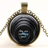 SENFAI Cyber Shot Cabochon Glass Pendant Necklace Statement Chain Necklace for Women