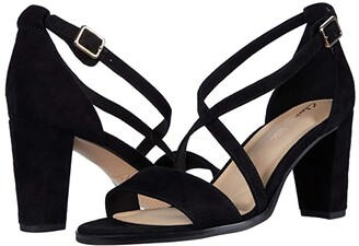 Clarks Kaylin 85 Strap (Black Suede) Women's Shoes