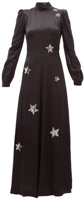 Bella Freud Ophelia Sequinned-star Satin Gown - Womens - Black