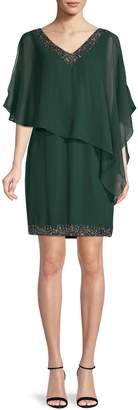 J Kara Asymmetric Capelette Embellished Dress