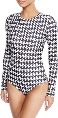 Cover Long-Sleeve Houndstooth One-Piece Swimsuit