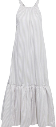 3.1 Phillip Lim Gathered Striped Cotton-blend Twill Midi Dress