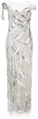Marchesa Embroidered Fitted Gown