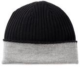 Portolano Black & Medium Gray Wool Reversible Beanie