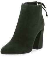 Stuart Weitzman Grandiose Suede Pointed-Toe Bootie, Forest