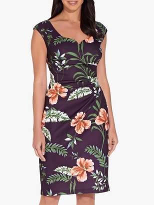 Adrianna Papell Tropical Printed Dress, Plum