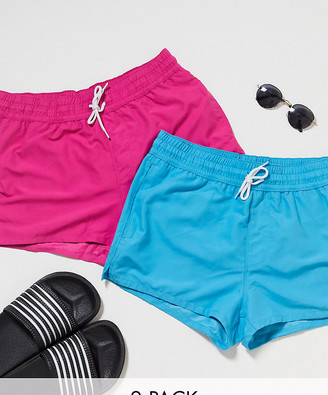 ASOS DESIGN 2 pack swim shorts in blue and pink in super short length save