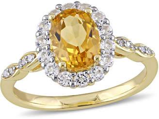 FINE JEWELRY Womens Diamond Accent Genuine Yellow Citrine 14K Gold Cocktail Ring