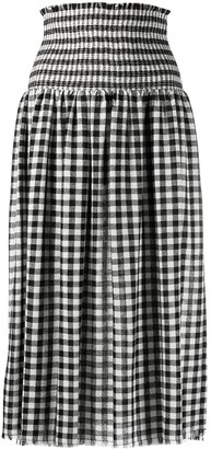 Pinko Gingham Smocked Midi Skirt